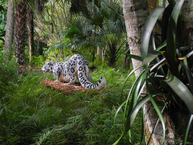 A surprise at every turn, the McKee Botanical Garden is currently hosting Sean Kenney's Nature Connects Made with LEGO with life-like examples like this jaguar.