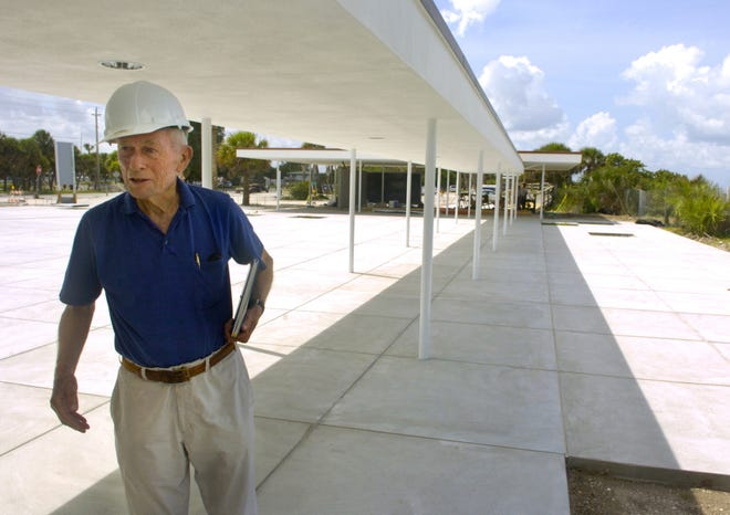 Architect Jack West during restoration of the Nokomis Beach Plaza as it was undergoing a major renovation project in July 2008.
