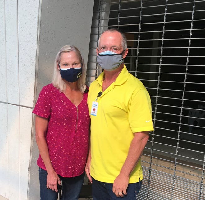 Sarasota couple Susie and Ron Moscati, both retired health care professionals from Buffalo, New York, have been volunteering at vaccination clinics organized by the Florida Department of Health in Sarasota County.