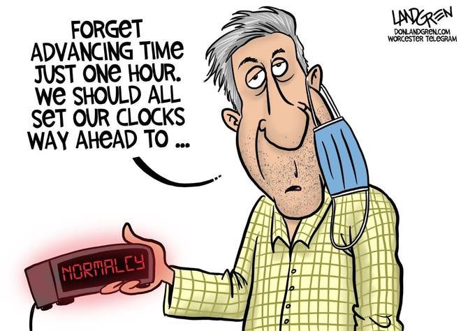 Landgren cartoon: Set to normalcy Don Landgren cartoon on daylight savings.