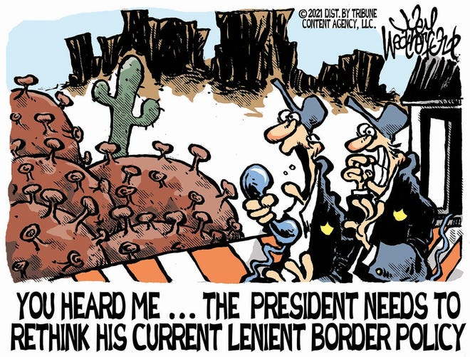 Weatherford cartoon: Lenient border policy Joey Weatherford cartoon on President Joe Biden's border policy.