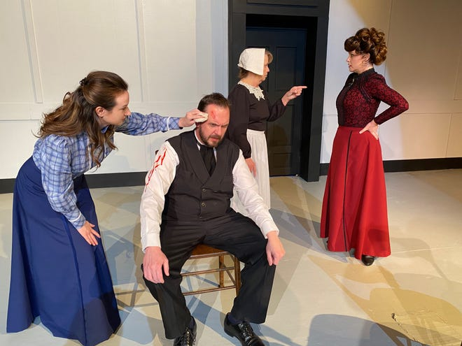 """Family wounds and secrets are reopened in this scene from Shawnee Little Theatre's """"A Doll's House, Part 2"""" performing at 7:30 p.m. March 11-13 and at 2 p.m. March 14 at the community theater, 1829 Airport Rd. Jill Fry, Scott Bartley, Karla Kelly and Nicki Sherman are featured in the dramatic comedy directed by Rebecca Fry. The play contains some adult language."""
