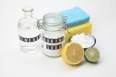 Vinegar and baking soda can be used for cleaning your home.