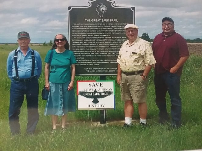 This photo was taken on Illinois Route 78 during the 2019 Black Hawk College conference on the Sauk Trail in 2019. From left: Robert Turner, Fox Nation; Diane Hunter, Miami Nation; Dick Wells, pioneer ancestor; and Bill Quackenbush, Ho Chunk (Winnebago) Nation.