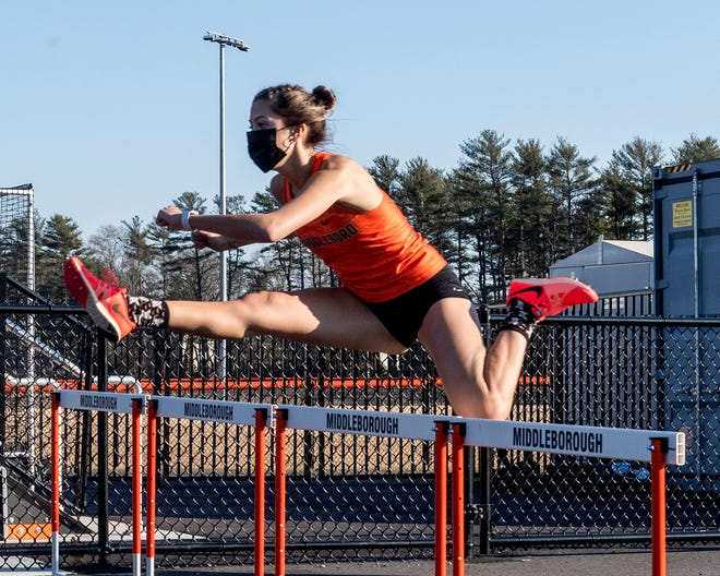 Middleboro High School's Sophia Rodriguez ran to a first place finish in the 55-meter hurdles last Tuesday in the Sachems' first meet of the winter/indoor track season, part of the Fall 2 schedule with competition held outside. Both the girls and boys teams were big winners over Hull.