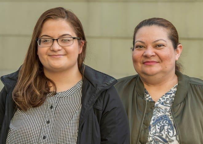 GénesisMárquez Campos, left, and her mother, Osma Campos, at their Worcester home.