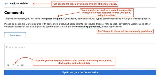 Our new commenting tool offers easy links to access  your account or format your comments.