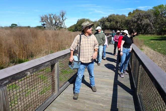 Lars Anderson, an author, historian and nature guide, leads a history tour about Paynes Prairie along the boardwalk at La Chua Trail in Gainesville last week. Paynes Prairie has a rich and interesting history from the prehistoric peoples that lived there after the Ice Age to pirates looking for precious stones that might be in the area.