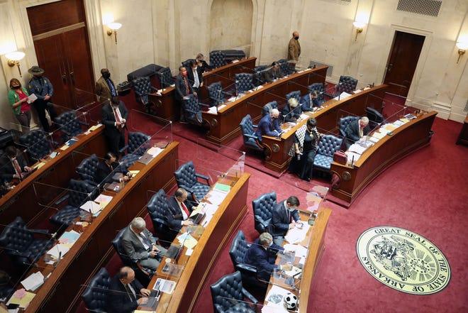 Mar 10, 2021; Little Rock, Arkansas, USA; Senator Joyce Elliott during a session at the Arkansas State Capitol. Credit: Nelson Chenault