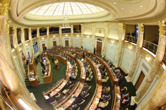 Arkansas lawmakers on Tuesday got their first look at legislation detailing the state's $5.9 billion budget proposal for the coming year as they near the end of this year's legislative session.