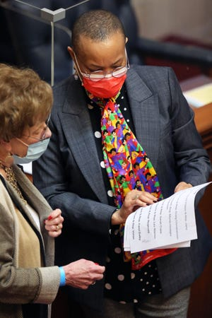 Sen. Joyce Elliott during a session March 10 at the Arkansas State Capitol. Elliott said that she experiences increased difficulties working as a lawmaker because she is a woman.