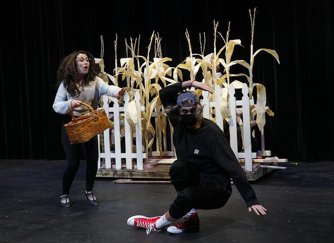 """Westerville Central High School seniors Becca Borton as Dorothy and Ethan Zink as the Scarecrow rehearse for the school theater department's production of """"The Wizard of Oz."""" Performances will be held March 19-21. The play is being dedicated to 2010 Central graduate Emilie Radigan, who died in 2018. Radigan played the Wicked Witch in the school's 2010 production."""