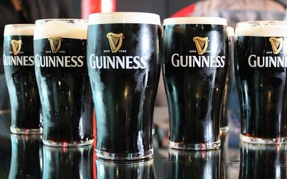 According to the brewers of Guinness, 13 million pints of the frothy black stout are downed around the world on St. Patrick's Day.