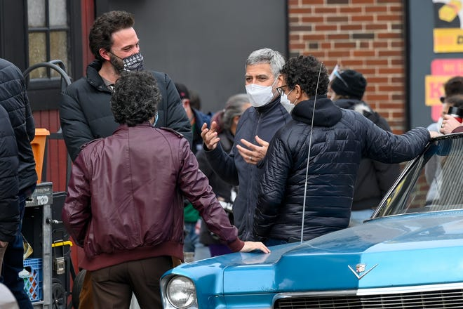 "In Beverly on March 11, Ben Affleck and George Clooney on set for filming of  ""The Tender Bar.' The movie is being filmed in various locations in Massachusetts, including Worcester this week."