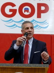 Jack Ciattarelli, the Ocean County Republican Party's nominee for governor, speaks during the annual convention held at  the Toms River Intermediate East gym Wednesday night, March 10, 2021.