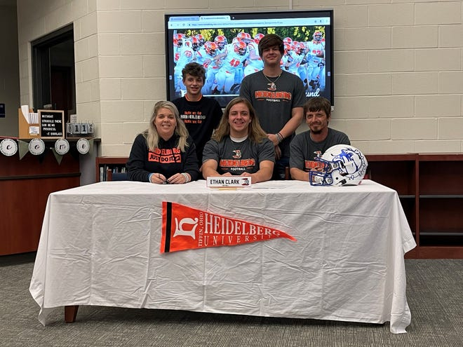 Crestline's Ethan Clark is headed to Heidelberg University to continue his academic and football career.  (L to R): mom Shelley, brother Weston, Ethan, brother Ty, dad TJ)