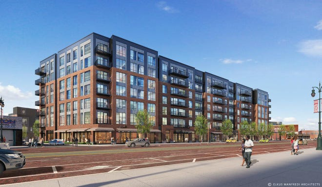 A rendering of a 188-unit apartment complex developers want to build at 1611 Michigan Ave. in Corktown.