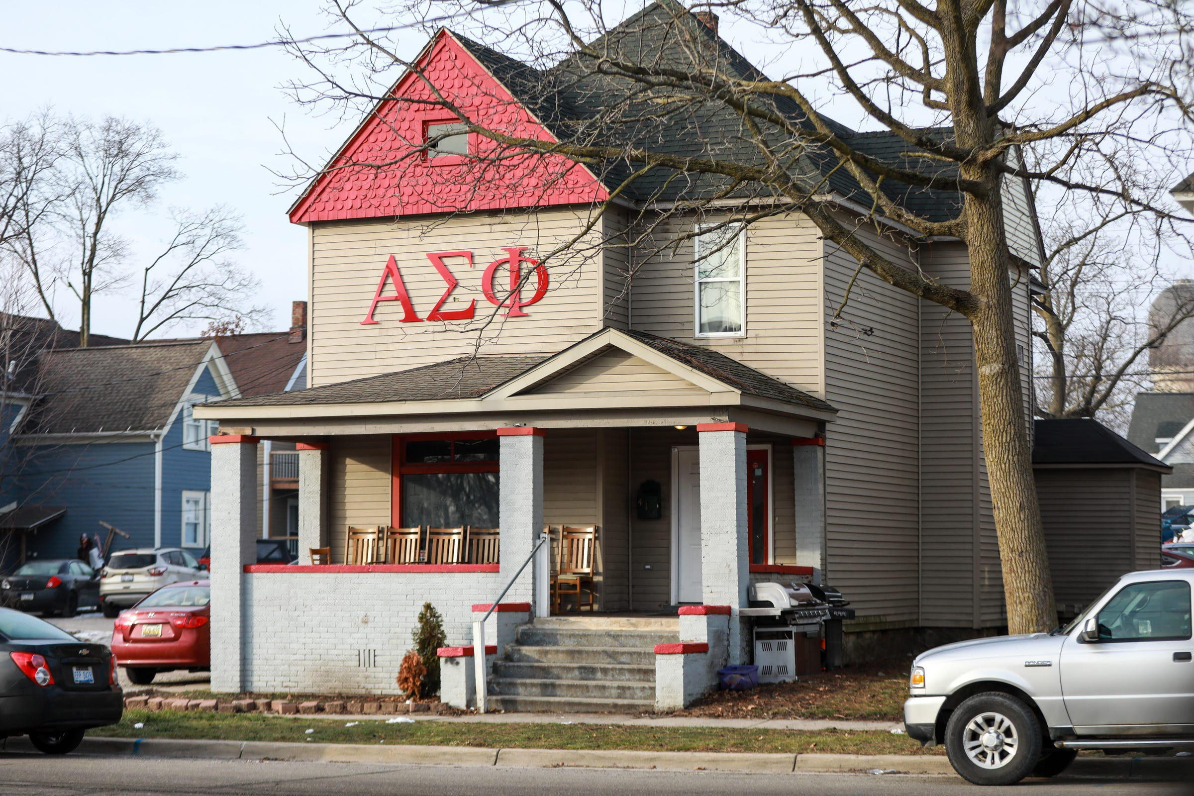 Alpha Sigma Phi fraternity house at 411 Ballard st. on the Eastern Michigan University campus in Ypsilanti on Wednesday, Jan.13, 2021.