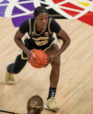 Purdue Boilermakers guard Tamara Farquhar (25) on Wednesday, March 10, 2021, during the women's Big Ten basketball tournament from Bankers Life Fieldhouse in Indianapolis. Iowa won 83-72.