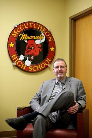 McCutcheon principal John Beeker sits for a photo, Thursday, March 11, 2021 in Lafayette.