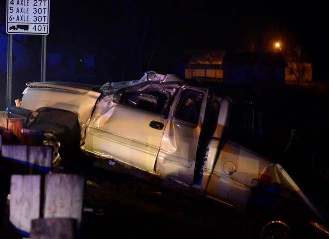 Randy Heater, 37, of Mansfield, the driver of this pickup that crashed after being pursued by police, was pronounced dead at the scene Wednesday night, according to the Ohio Highway Patrol.