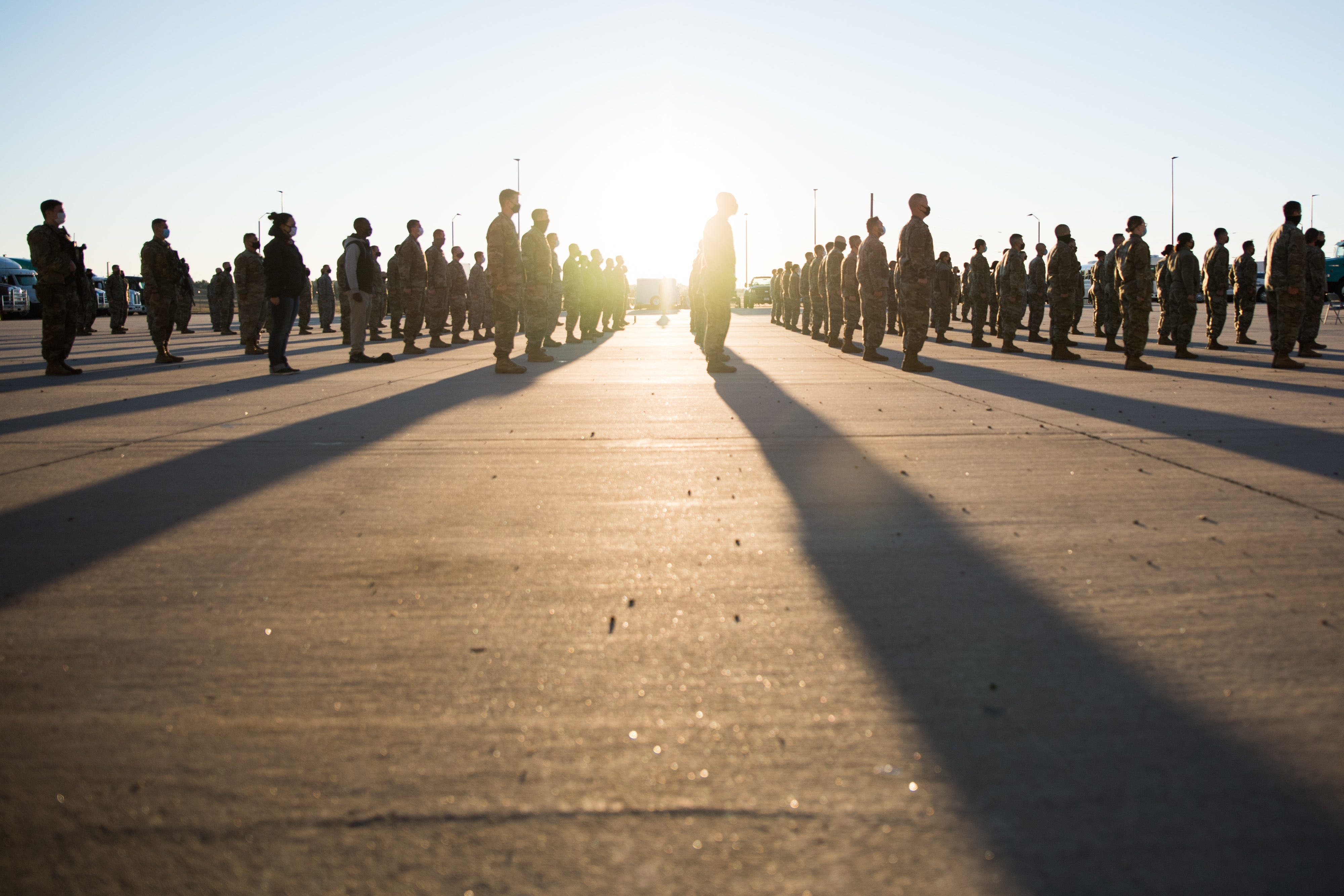 Airmen assigned to the newly activated 253rd Command and Control Group, Wyoming Air National Guard, stand in formation at a ceremony conducted Sunday, Sept. 13, 2020, at their facility on F.E. Warren Air Force Base, Cheyenne, Wyo. The Wyoming Air National Guard's 153rd Airlift Wing activated the 253rd Command and Control Group, 253rd Security Forces Squadron and the 253rd Support Squadron. The ceremony also featured assumptions of command for the new units and the re-aligned 153rd Command and Control Squadron.