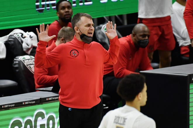 Mar 11, 2021; Cleveland, Ohio, USA;  Ball State Cardinals head coach James Whitford reacts during the first half against the Toledo Rockets at Rocket Mortgage FieldHouse. Mandatory Credit: Ken Blaze-USA TODAY Sports