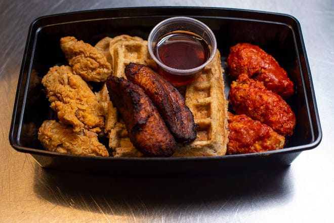 Radical Rabbit's chicken (made from jack fruit) and waffles with fired plantain as seen at Citizens Kitchen Thursday, March 11, 2021 in Nashville, Tenn. The business is about to celebrate its third birthday making vegan takes on soul food classics.