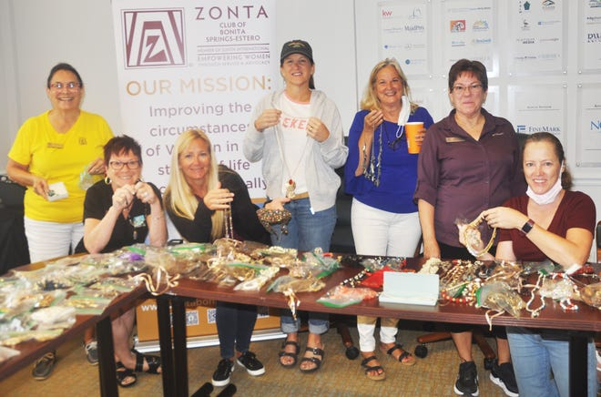 Members of the Zonta Club of Bonita Springs spent the morning of March 9 sorting and bagging more than 1,000 pieces of costume jewelry that they laid out on desks at The Hub. The jewelry will be sent to Bonita Springs Elementary School so students can give them as gifts to their mothers on Mother's Day.
