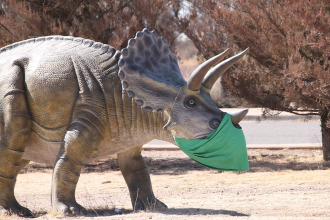 Dinosaurs at Trees Lake are equipped with face coverings as a City of Deming reminder to wear a mask to protect against COVID-19.