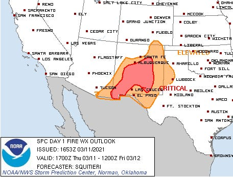 A majority of New Mexico is within the elevated and critical levels for the fire outlook Thursday, March 11, 2021.