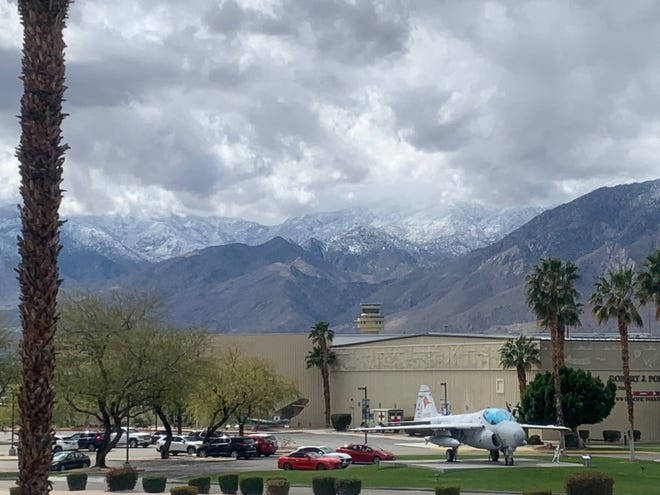 Snow levels were around 3,500 feet above Palm Springs on Thursday, March 11, 2021.
