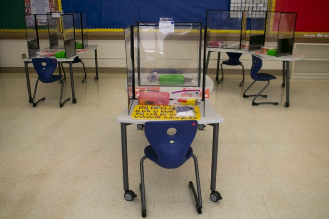A kindergarten classroom at Dunbar elementary is setup for students during the COVID-19 pandemic as schools in the Phoenix Elementary District plan to reopen in Phoenix on Mar. 10, 2021.
