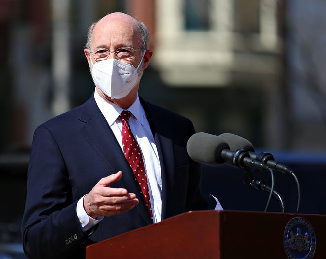 Gov. Wolf speaks to media during a visit to Family First Health in York City, Thursday, March 11, 2021. Gov. Wolf praised the health center for their diligence during the COVID-19 pandemic as well as for their efforts to get the COVID-19 vaccine to the members of the eligible and sometimes vulnerable members of the community. Dawn J. Sagert photo
