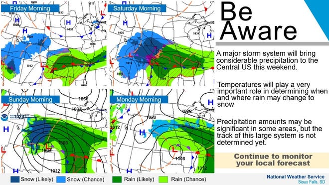 A storm bringing snow and rain to the central plains is possible this weekend, according to the NWS.