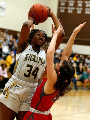 Kickapoo's Indya Green looks to score against Nixa in Springfield on March 10, 2021.