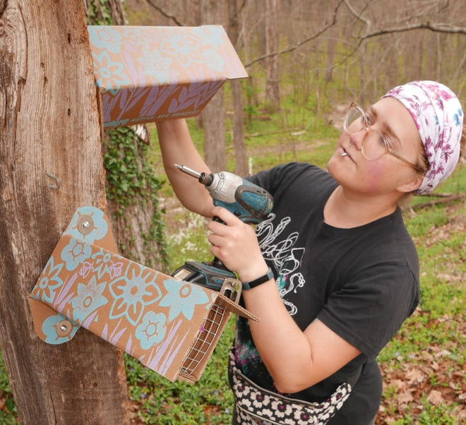Ames Chiles, along with father Dan, manufacture corrugated paper bee houses that give native bees a safe place to raise their young.