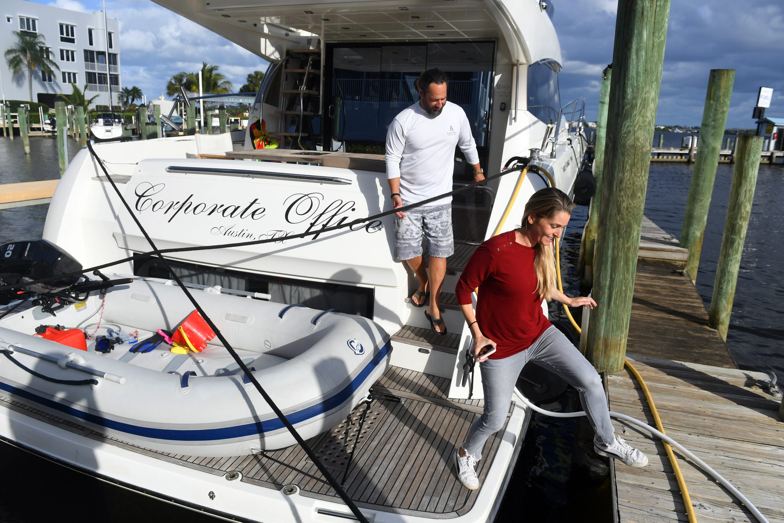 Austin and Jenny Cameron, of Austin, Texas, took over ownership of Meridian Marina in Palm City in January. The Camerons are planning extensive renovations including repairs to and expansion of the current storage facility, opening a repair shop, boat sales and a waterfront restaurant.