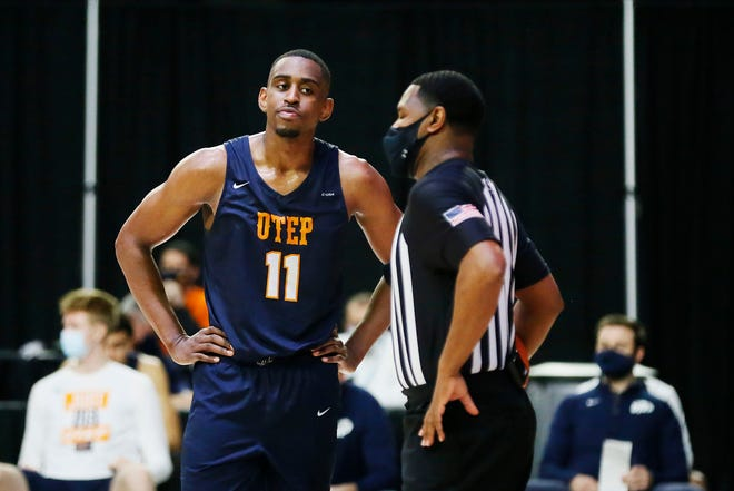 UTEP's Bryson Williams during the game against Florida Atlantic Wednesday, March 10, 2021, in their first C-USA men's tournament game in Frisco.