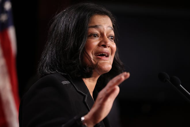 Rep. Pramila Jayapal, D-Wash., holds a news conference to announce legislation that would tax the net worth of America's wealthiest individuals at the U.S. Capitol on March 01, 2021 in Washington, D.C.
