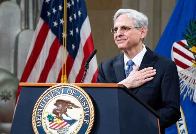 Attorney General Merrick Garland addresses staff on his first day at the Department of Justice on March 11 in Washington. Garland, a one time Supreme Court nominee under former President Barack Obama, was confirmed March 10 by a Senate vote of 70-30.