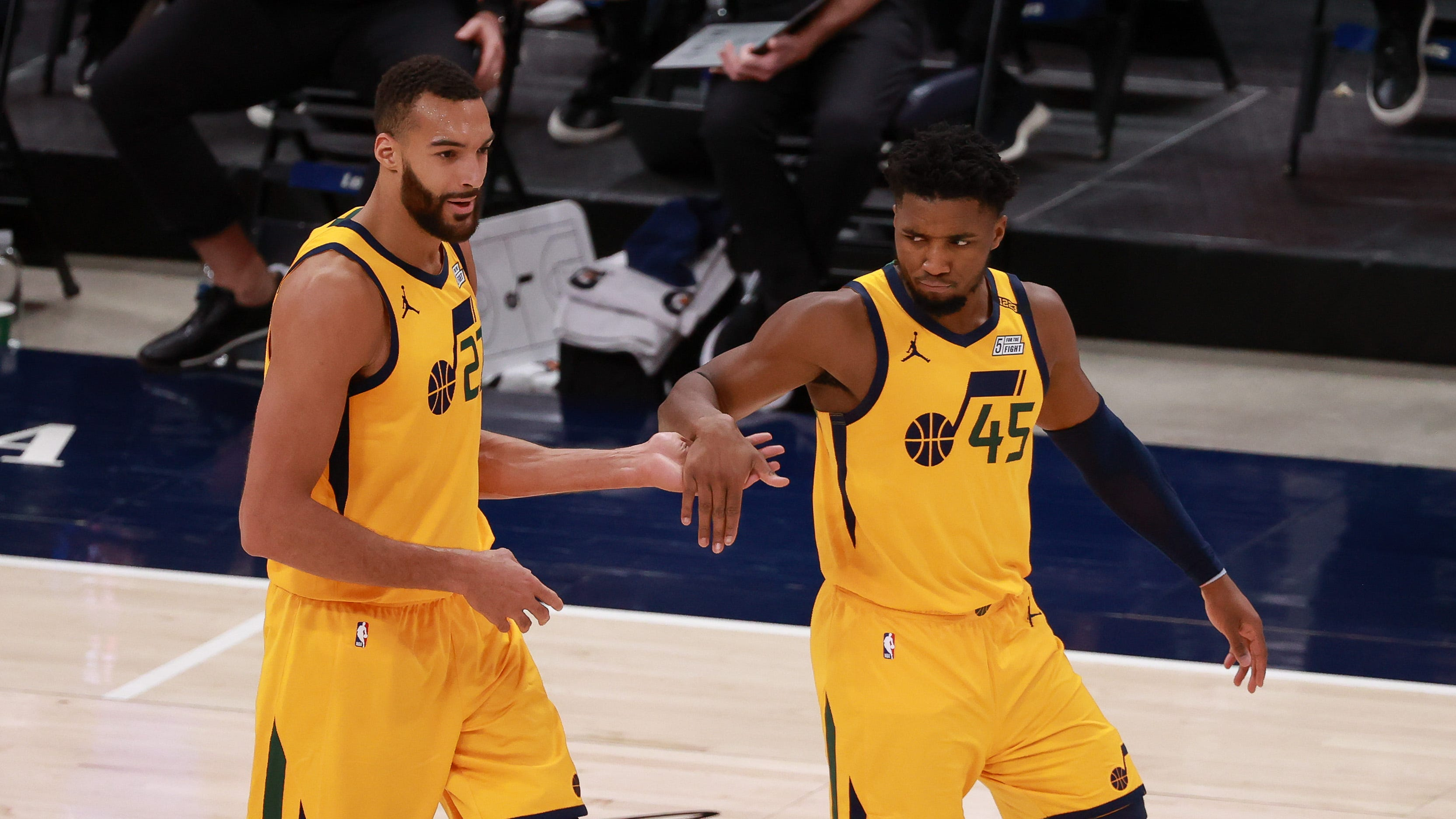 Rudy Gobert (left) and Donovan Mitchell have led the Jazz to the top of the Western Conference standings after Gobert's positive COVID-19 test last year threatened to cause friction between the two All-Stars.