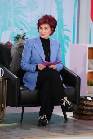 "Sharon Osborne was photographed during the February 19, 2021 episode of ""the talk."""