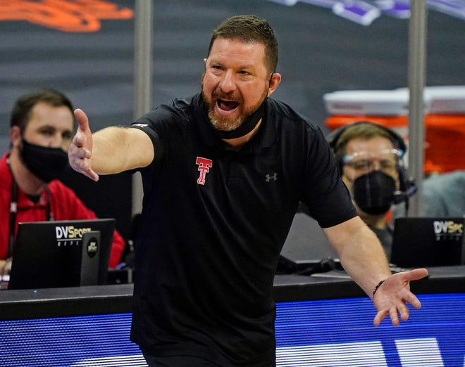 Mar 11, 2021; Kansas City, MO, USA; Texas Tech Red Raiders head coach Chris Beard reacts after a play against the Texas Longhorns during the second half at T-Mobile Center.