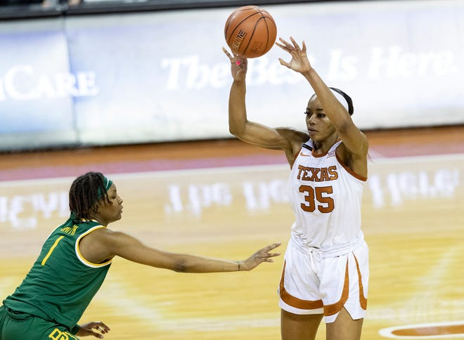 Texas forward Charli Collier fouled out of Friday's Big 12 Tournament quarterfinals win over Iowa State. Her scoring average would be the sixth-best season average in school history if the season ended today.