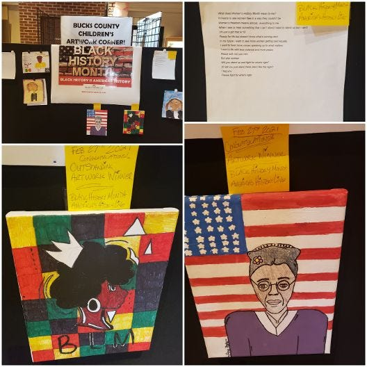 """Students were encouraged to answer the question """"What does Black/Women's History Month mean to you?"""" in art or written form."""