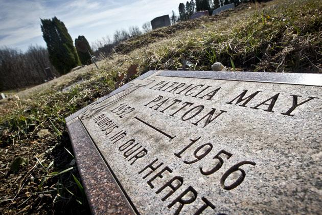 The grave site of Patty Patton in the Oak Grove Cemetery, taken in 2011