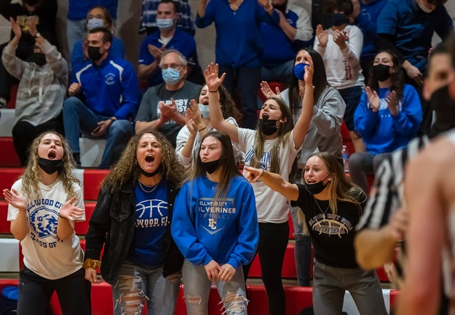 Ellwood City fans cheer on the Wolverines during their WPIAL semifinal game last Thursday at Neshannock High School.