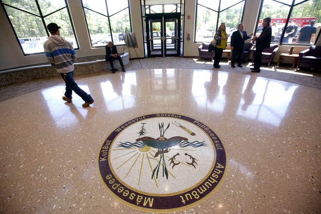 The Mashpee Wampanoag Tribe's election is expected to be held in this government center after a tribal court judge ruled that mail-in voting violated the tribe's constitution. STEPHAN SAVOIA/THE ASSOCIATED PRESS