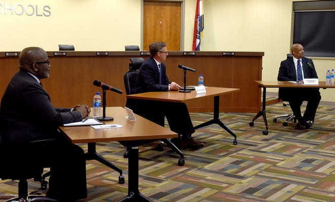 Columbia Public Schools superintendent finalist candidates, from left, Erick Pruitt, Chace Ramey and Harold Yearwood answer questions from a moderator Thursday at the superintendent finalist forum.